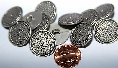 """12 Silver Tone Metal Black Accent Buttons 3/4"""" 19mm # 5815"""