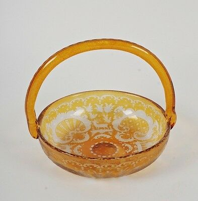 Gorgeous Vintage Bohemian Czech Cut Amber To Clear Glass Bowl With Handle