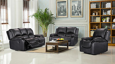 New Modern Luxury Valencia Bonded Leather Recliner Sofa Suite 3 , 2 , 1 Seaters