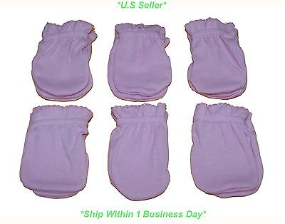 6 Pairs Cotton Newborn Baby/infant Pink Color No-scratch Mittens Gloves-New!!