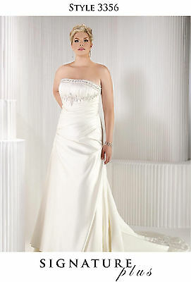 Formal Wedding Ball Gown Dress Ivory/Silver #3356 SIGNATURE PLUS Size 18W NEW