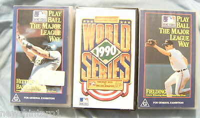 Three Vhs  Video  Baseball  Tapes - 1990 World Series & Training