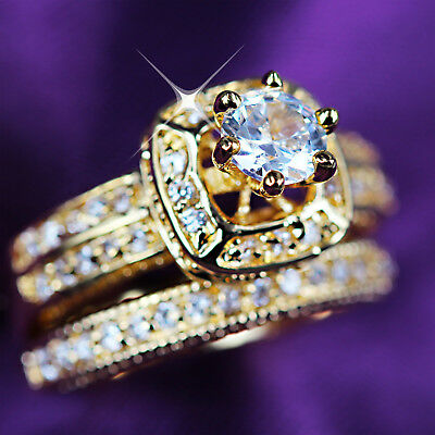 9K Gold Gf Luxury 3Way Wedding Solitaire Diamond Engagement Band Solid Rings Set