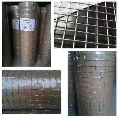 """GALVANISED WELDED WIRE MESH 1"""" 1/2 1/4""""  24"""" 36 48"""" 15m 30m AVIARY HUTCHES FENCE"""