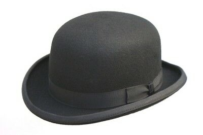 100% Wool Mens Black Bowler Hat Fashion Hat Satin Lining 4 Sizes
