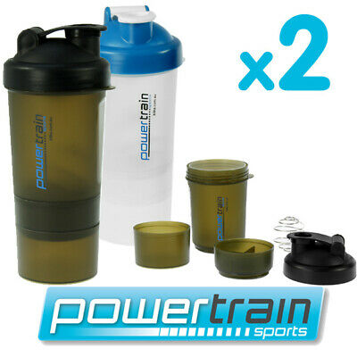 2x PROTEIN SUPPLEMENT DRINK BOTTLE SPORTS MIXER SHAKER BALL CUP SMARTSHAKE