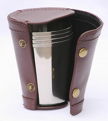 4 Stacking Hunting Stirrup Cups in Leather Case NEW Stainless steel Shooting Tot