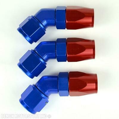 AN -8 Forged 45 Degree Hose Fitting (3 Pack) Red and Blue 8AN AN8 -8