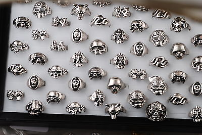 10pcs Wholesale Fashion Skull Head Tibet Silver Ring Lots Jewlery