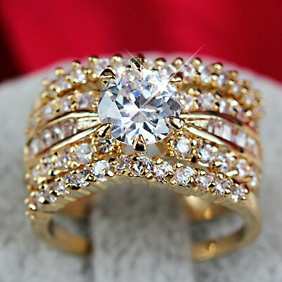 24K Gold Filled R191 3Way Luxury Lab Diamond Wedding Bridal Women Solid Ring Set