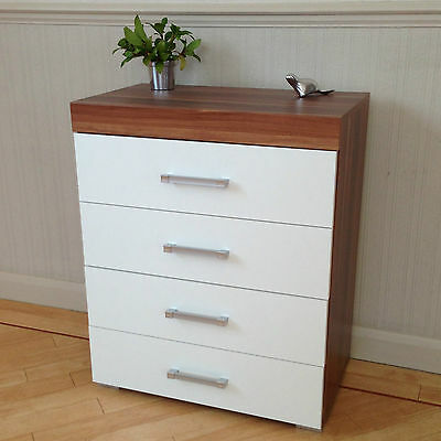 Chest of 4 Drawers in White & Walnut Bedroom Furniture Modern * BRAND NEW*
