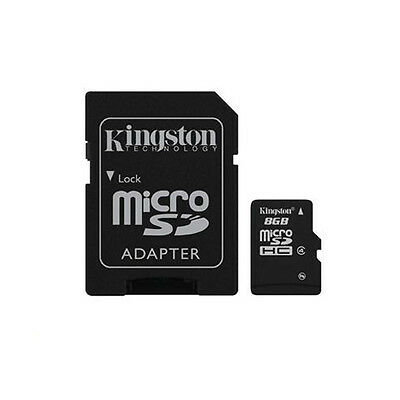 Kingston 8GB Micro SDHC Class 4 Flash Card With Adaptor - Fast Shipping