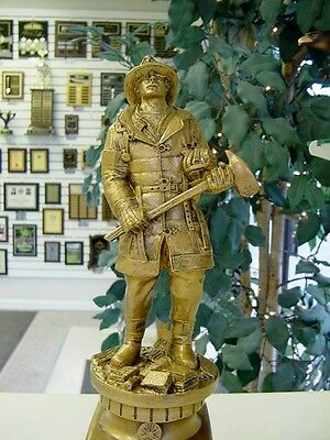 Heavy Fireman Firefighter Statue Award Trophy Gold