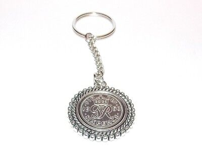 1947 70th Birthday Lucky Keyring - Double Rim effect - Genuine 1947 sixpence