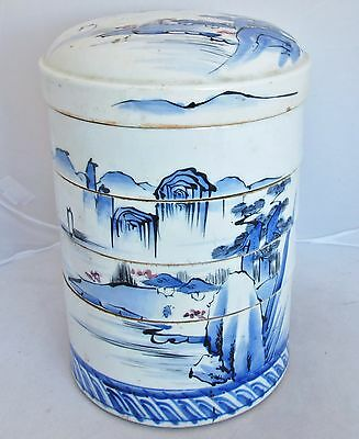 "11"" Antique Japanese Blue & White Stacking Bowl Container w/ Mountain Landscape"