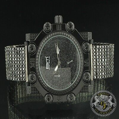 Fully Ice Loaded All Black CZ Mens Round Face Stainless Steel Back Wrist Watch