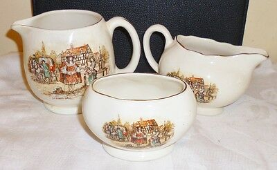 LANCASTER & SANDLAND MILK JUGS AND SUGAR BOWL -YE OLDEN DAYS