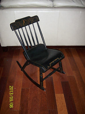 19c Antique Hand Painted/Carved Gilded Wood Childs Rocking Chair Hitchcock Style