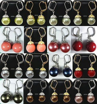 15 color-12mm pink/red/gray/balck/green/coffee shell pearl dangle earrings