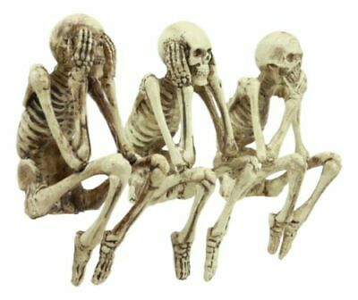 See Hear Speak No Evil PC Topper Shelf Sitter Sculpture Halloween Skeleton Skull