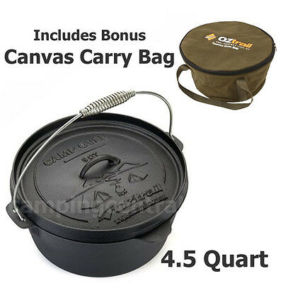 OZTRAIL 4.5 QUART CAMP OVEN + CARRY BAG Cast Iron Pot Pan Cookware