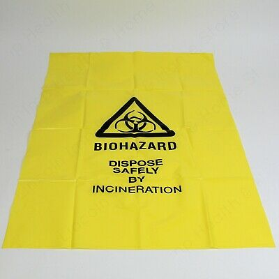 Bio-hazard Disposal Yellow Bags Clinical Waste Sack. Heavy Duty Bags Roll of 25
