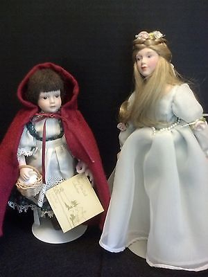 Avon Fairy Tale Collection Porcelain Cinderella & Red Ridding Hood  Doll & box