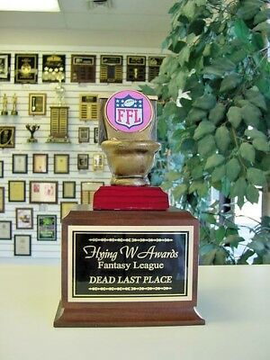 Fantasy Football Toilet Bowl Last Place 16 Year Loser Perpetual Trophy Pink *