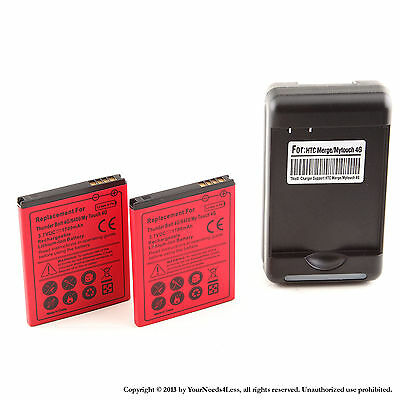 2x 1700mAh battery for HTC Thunderbolt ADR6400; T-Mobile myTouch 4G + Charger