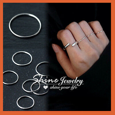 925 Sterling Silver Classic Solid Plain Thin Round Band Knuckle Finger midi Ring