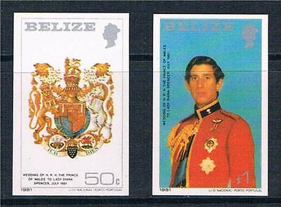 Belize 1981 Royal Wedding IMPERF SG 614/5 MNH