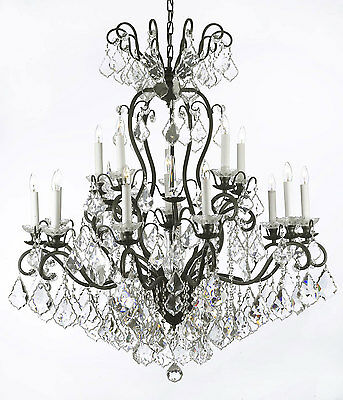 """16 LIGHT LARGE 38""""x44"""" CRYSTAL & METAL OR WROUGHT IRON CHANDELIER FOYER"""