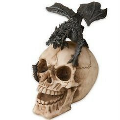WINGED DRAGON on LAUGHING SKULL STATUE PAPERWEIGHT