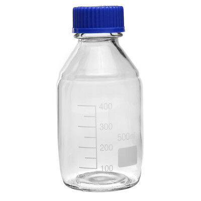 500ml,Glass Reagent Bottle w Blue Screw cap,heavy,Blue Lid,Graduation 400ml