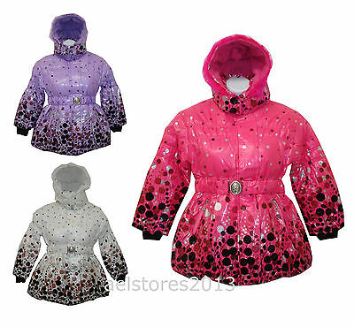 Girls Jacket Coat Padded Winter Fur Hooded Age 3 4 6 8 9 10 12 years New Belted