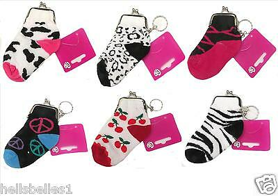 Novelty Keyring Sock Purses Various Design Ideal Gift/party Bags/stocking Filler