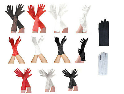 NEW LADIES SATIN SHORT LONG 3/4 LENGTH PLAIN RUCHED AND LACE GLOVES OPERA 50's