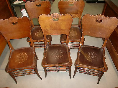 Antique Oak Curved Back Sturdy Dining Room Chairs Vintage Set of (5)