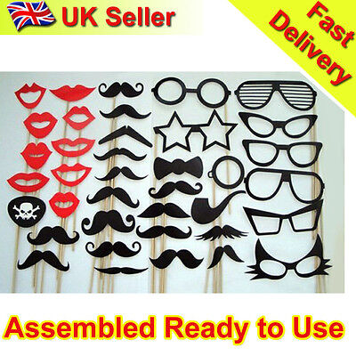 NEW 38pcs On A Stick Mustache Photo Booth Props Wedding Party Fun Birthday Favor