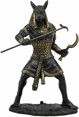 "Ancient Egyptian Sculpture Warrior God Set Seth Decoration 10"" Tall Black Gold"