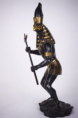 "Ancient Egyptian Sculpture Warrior God Falcon Cobra Horus 12.5""H Black And Gold"
