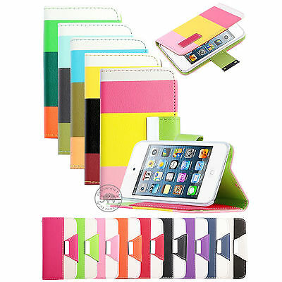 Folio Wallet Pouch Hard Case Black Stand Cover Skin for iPod Touch 4 4th Gen 4G