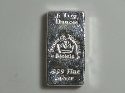 5 oz Silver Hand Poured Bar - Monarch Metals MPM - Five Ounce 999