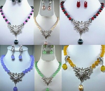 6color-fine green/purple/yellow/red jade pink/black pearl necklace pendant earrs