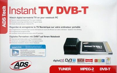 ADS Tech Instant TV-Karte Dual DVB-T Digital PCMCIA Cardbus Card Receiver Tuner