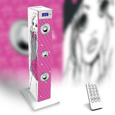 Karaoke Lautsprecher Mikrofon Fernbedienung Radio Tower Sound Bigben TW 5 Rock
