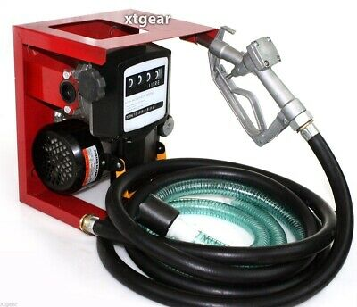 110V Electric Oil Fuel Diesel Gas Transfer Pump W/Meter 12' Hose Manual Nozzle