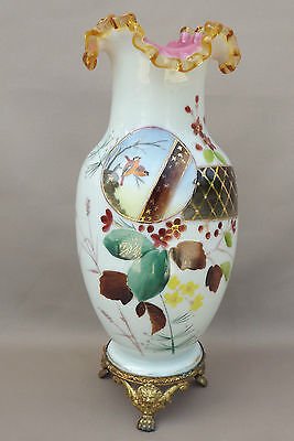 French Victorian Antique White Glass Opaline Vase with Brass Mount Base