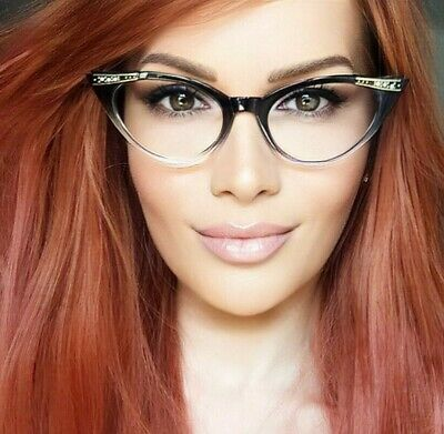 36ae285a982e5 Sexy CAT Eye Black Gradient Clear PinUP Crystals Fashion EyeGlasses Frames  1317