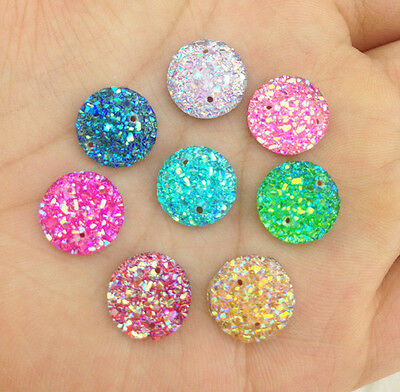 DIY 30Pcs 12mm AB Mini Faceted Flatback Resin Round Stone Buttons PICK Color NEW